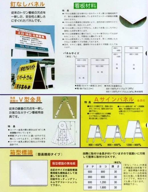 釘なしパネル・箱型標識・Aサインパネル・V型金具